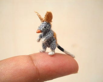 Miniature Bilby Amigurumi - Mini Crochet Rabbit Stuffed Animals - Made To Order