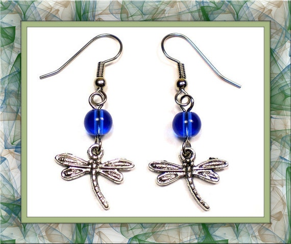 Sapphire Blue Dragonfly Earrings (Clip-On by Request)
