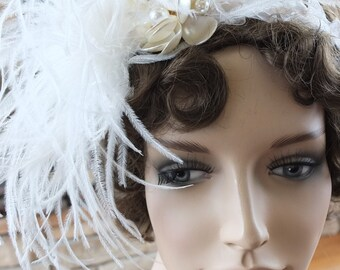 Flapper pearl blossum feather headpiece 1920s great gatsby wedding veil