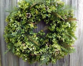Summer  Wreath - Spring Wreath - Boxwood Wreath - Year Round Wreath - Door Wreath