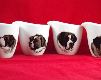 Saint Bernard hand painted art on set of 4 dip cups