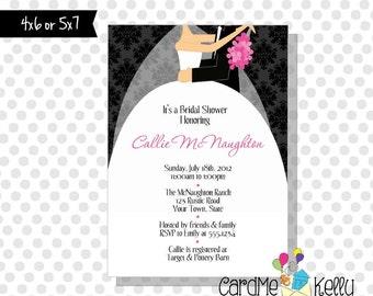 Printable Bridal Shower Invitation Tux, Wedding Dress, Bouquet- Digital File