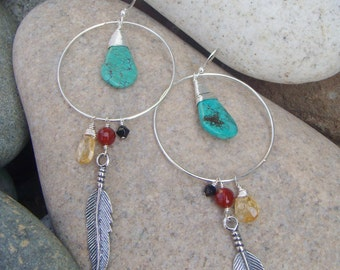 Large Hoop Dangle Earrings - Silver Feather Earrings - Gemstone Earrings - Sterling Silver Hoop Earrings - Large Dangle Earrings - Turquoise