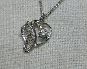 Filigree Heart Necklace, Am Lee Sterling with Clear Rhinestone. Mid Century Cute