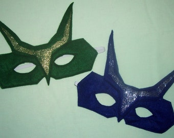 Set of 5 glittery child's felt mask with reinforced elastic band
