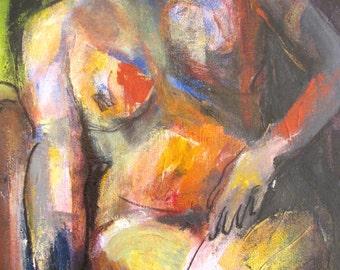 Nude Blue Orange yellow OOAK acrylic painting