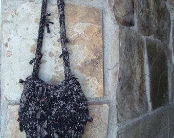 70s WOVEN HIPPIE BAG vintage floral fabric purse handmade
