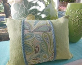 Green Decorative Pillow - Seaglass Uninhibited Beach Pillow - 12 x 16 Lumbar Pillow - Dusk Blue and Seaglass Kiwi