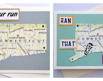 Connecticut - Run (or RAN) That State, Enjoy Your Run, or Happy Trails to You Handmade Greeting Card for Runners - 26.2, 13.1, 10K, 5K