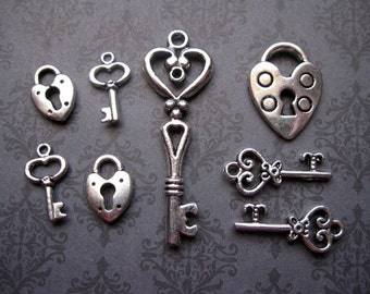 Lock and Key charm collection in Silver Tone - C1674