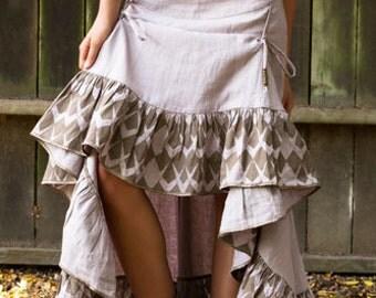 Gypsy Skirt, Linen Skirt, Flamenco Skirt, Boho Skirt, Long Skirt, Maxi Skirt, High Low Skirt, Dance skirt, Womens Skirt