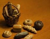 Dollhouse Miniature Food - Artisan breads in a basket