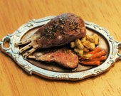 Dollhouse Miniature Food - Prime rib of beef on platter with potatoes and carrots