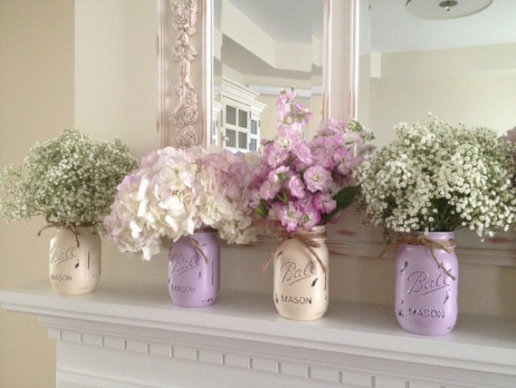 Painted Mason Jars. Mason Jars. Set of 4 Painted Mason Jars. Rustic Home Decor. Wedding Decorations. Baby Shower.