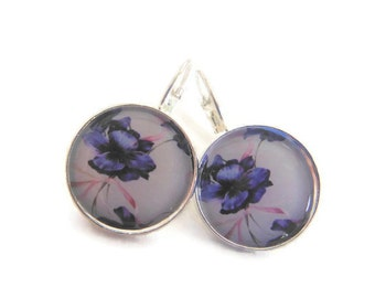 Blue Pink China Plate Floral Earrings