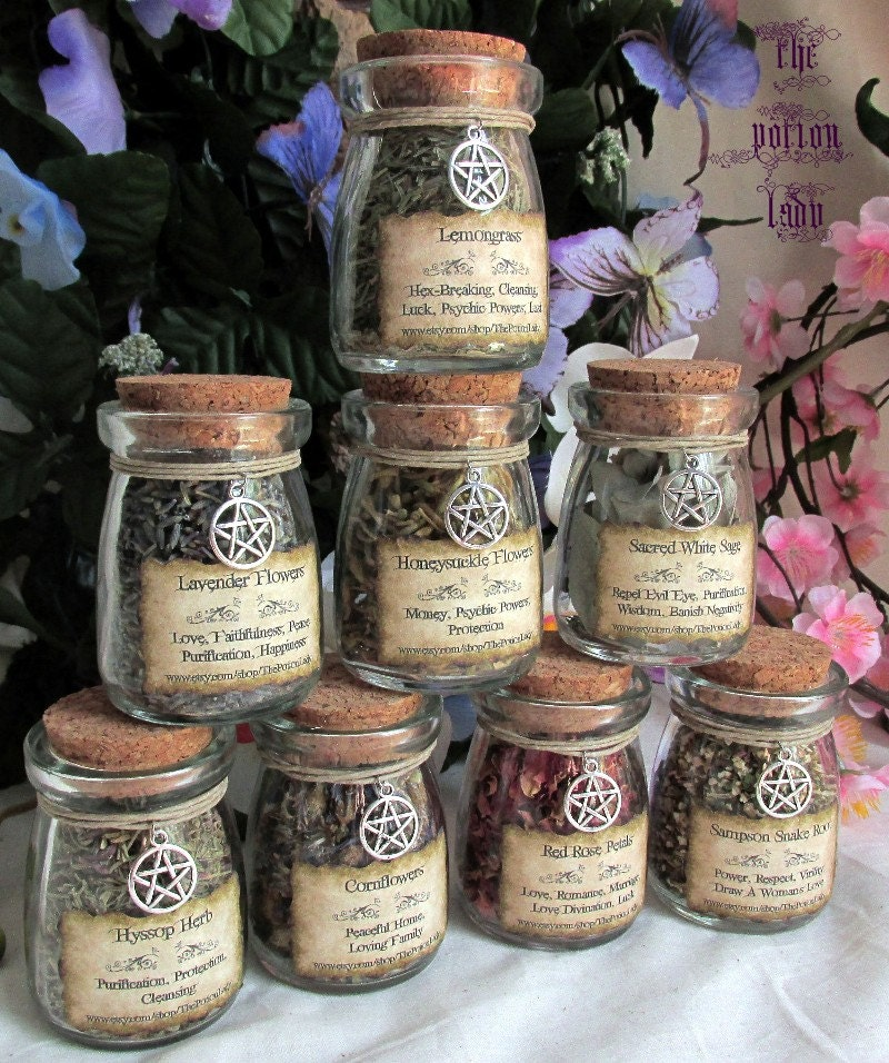 Set Of Witch S Herbs Jars Sacred Herbs Wiccan By Thepotionlady