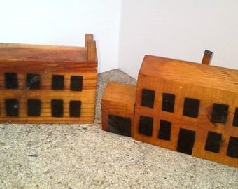 Vintage Wooden Folk Houses Primitive Wood Buildings
