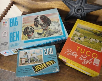 Lot of 3 old jigsaw puzzles with a dog theme