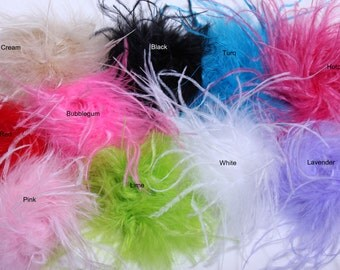 Set of 2 Curly Ostrich Puffs Your Choice of Colors, Perfect for Baby Headbands, HairClips and Other Craft Supplies