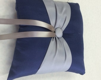 Navy Blue with Gray  Accent Button  Ringbearer pillow