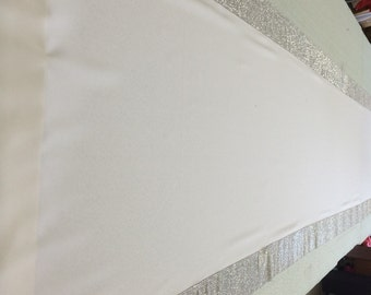 Custom Made White  Gabardine Aisle Runner 60  ft  Silver Rhinestone Sparkle border  36 inches wide