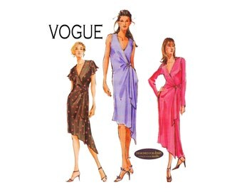 Asymmetrical Hem Dress with waist tie Designed for Knits Vogue 7898 Sizes 6 8 10 or 18 20 22 OOP UNCUT Sewing Pattern