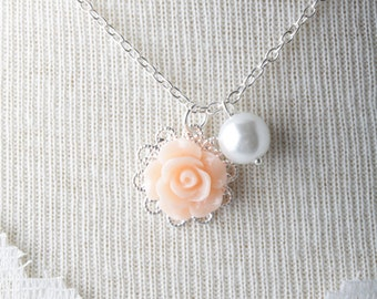 Peach rose flower girl necklace - white pearl girl necklace - girl jewelry - flower and pearls necklace - peach wedding -flower girl jewelry