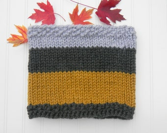 Autumn Colors Infinity Circle Scarf, Tricolor, Charcoal Yellow Grey