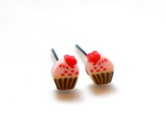 Baby Miniature Pink Cupcake Post Earrings 4mm
