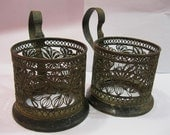 Lot of 2 pc Russian SOVIET Granenny Tea Stakan Silver plated PODSTAKANNIK Glass-Holder Soviet FILIGREE Skan metalwork