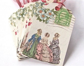 Party Wedding Thank You Tags Pretty Ladies Lot of 10