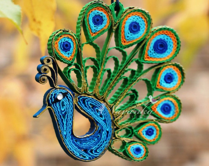 Peacock Paper Quilling Ornament in a gift box , Peacock home decor bird lover gift, Wedding, Mothers Day Keepsake