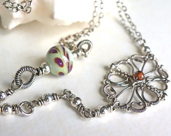 Necklace handmade wire wrapped sterling silver lampwork beads Mother's Day