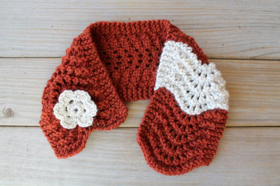 Hand knit brick red scarf / winter white / cottage chic scarflette /  rustic country inspired / crocheted flower brooch / neck cozy for her