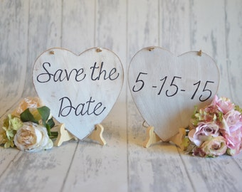 TWO Heart Signs - Customized Save The Date- Engagement/Wedding Photography Props-Wedding Signs-Your Choice of Colors- Ships Quickly
