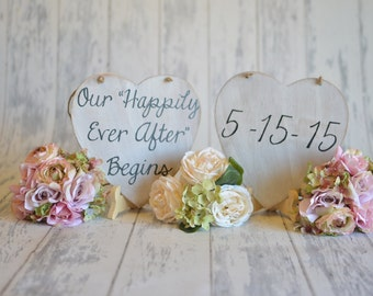 TWO Heart Signs -Save The Date/Happily Ever After- Engagement/Wedding Photography Props-Wedding Signs-Your Choice of Colors- Ships Quickly