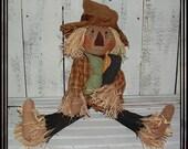 Primitive folk art scarecrow rag doll raffia hair pumpkin crow HAGUILD HAFAIR OFG