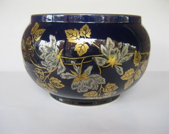 Vintage Sarreguemines Pottery Planter French Midnight Blue and Gold