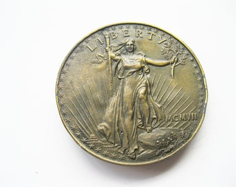 Walking Liberty Double Eagle Gold Piece Belt Buckle Indiana Metal Craft, free shipping, christmas present, fathers day  - FL
