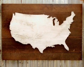 Rustic US Map Wooden Reclaimed Wood Large USA Map