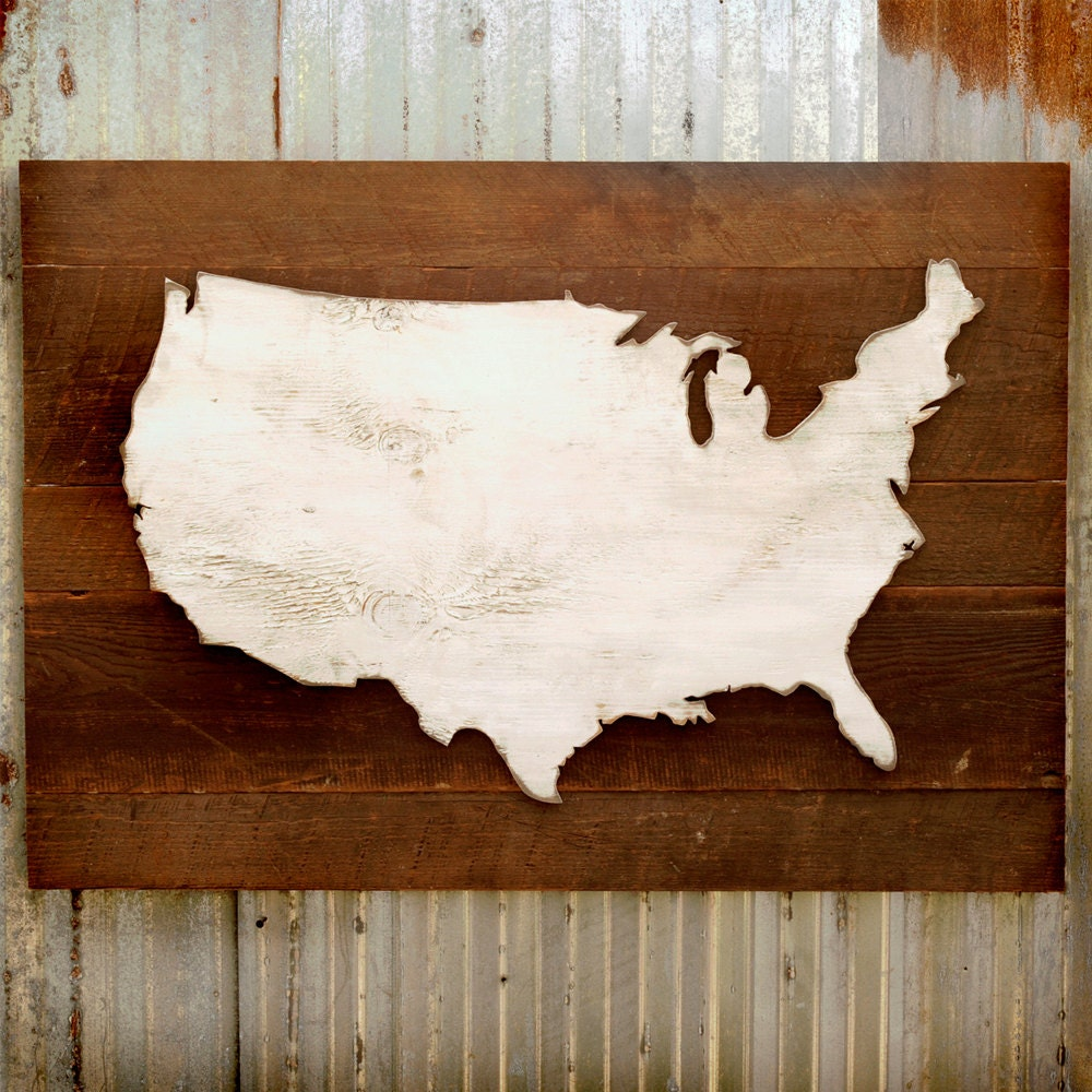 🔎zoom - Rustic US Map Wooden Reclaimed Wood Large USA Map
