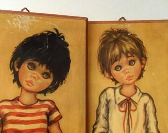 1960s Jolylle wide eyed art | vintage children's art on wooden panels | signed | Big Eyes art | big eyed children art | wide eyed children