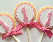 Pink and Yellow Cupcake Toppers, First Birthday Cupcake Toppers, Set of 12