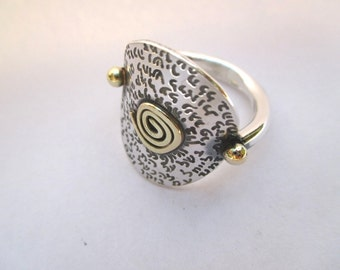 Sterling silver ring with gold spiral