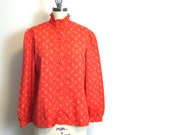 1970s granny chic red blouse by Panther - size large - pintuck front - ruffled collar - long sleeves - vintage daywear blouse
