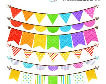 Rainbow Bunting Clipart Set - clip art set of bunting in rainbow colors - personal use, small commercial use, instant download
