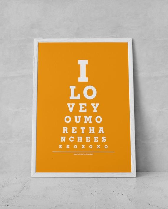 "Home Decor Art Poster Print ""I Love You More Than Cheese"" Eye Exam Chart"