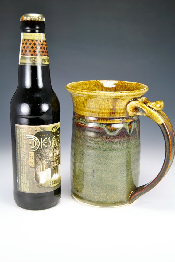 Tankard beer mug in Brown glaze w/amber rim
