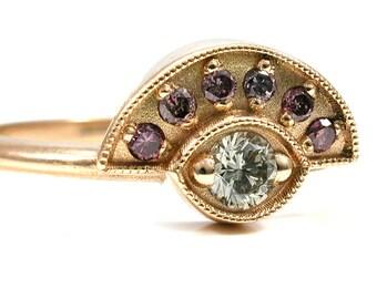 White and Lavender Diamond Evil Eye Ring - 18k Yellow Gold - 14k Rose, White or Yellow Gold