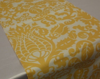 """CLEARANCE SALE RUNNER Sample 13x65"""" Yellow and White Damask Table Runner"""